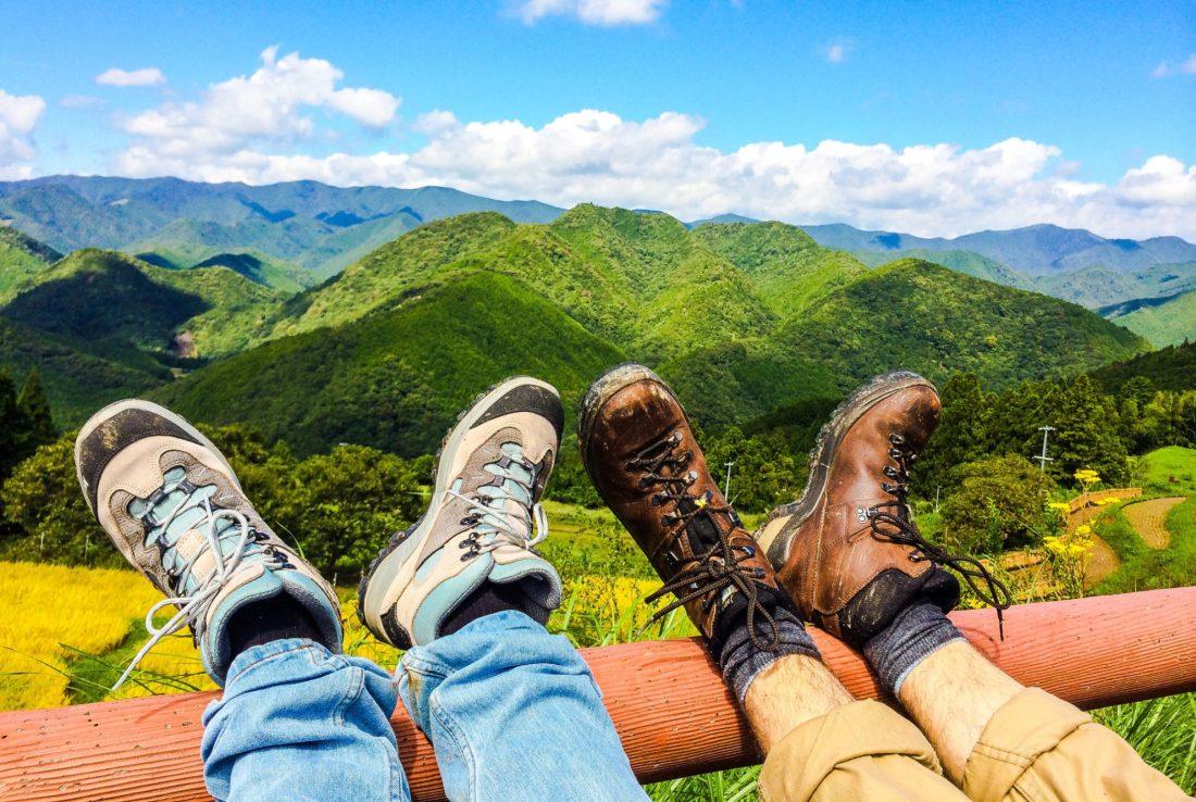 Legs up for break with a view | Gay Couple Pilgrimage Kumano Kodo Japan © CoupleofMen.com