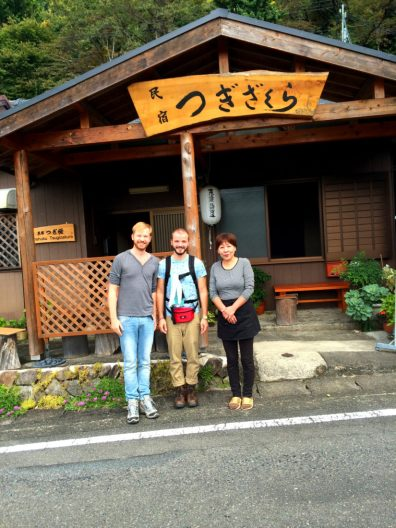Photos with the family part 1 of Minshuku Tsugizakura in Chikatsuyu | Gay Couple Pilgrimage Kumano Kodo Japan © CoupleofMen.com