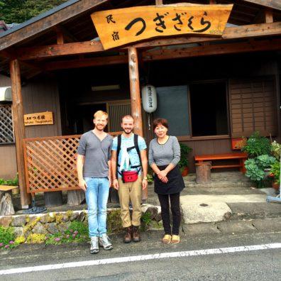 Photos with the family part 1 of Minshuku Tsugizakura in Chikatsuyu | Gay Couple Pilgrimage Kumano Kodo Japan © CoupleofMen.com