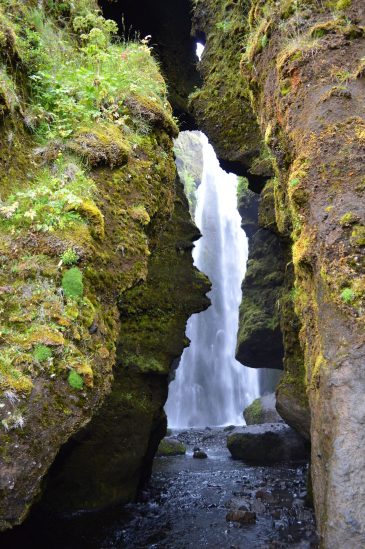 Hidden waterfall in a cave Gljúfrafoss   Golden Circle Tour Iceland Þingvellir Geysir Gullfoss © CoupleofMen.com