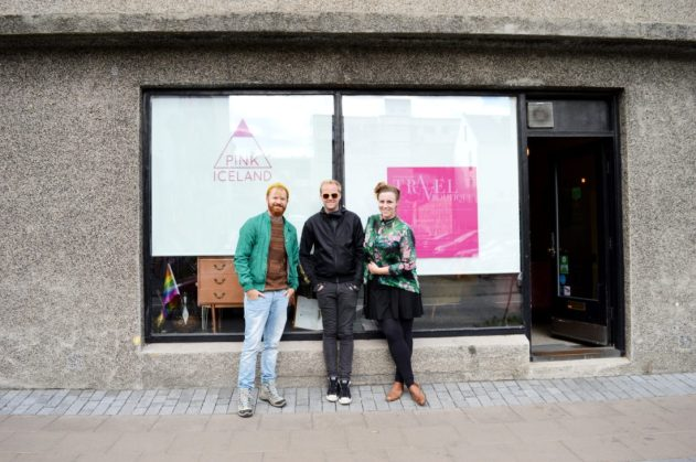 Daan together with the owners of Pink Iceland Travel | Gay Couple Travel City Weekend Reykjavik Iceland © Coupleofmen.com