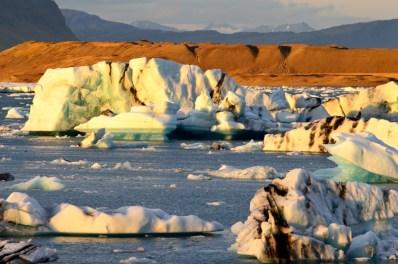 Sunset over glacier ice   Zodiac Tour Glacier Lagoon Jökulsárlón © CoupleofMen.com