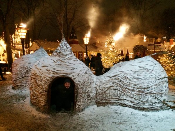 Karl in a illuminated Iglu | Gay Travel Guide Tivoli Gardens Copenhagen Winter © Coupleofmen.com