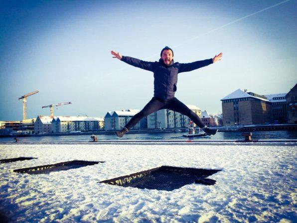 Karl Trampolin Jumping in Winter | Gay Travel Guide Tivoli Gardens Copenhagen Winter © CoupleofMen.com
