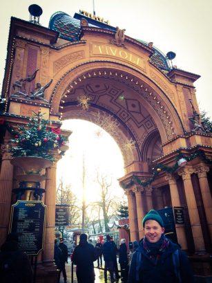 Daan excited in front of the Park | Gay Travel Guide Tivoli Gardens Copenhagen Winter © Coupleofmen.com