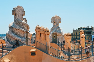 Daan on the roof top | Gay Travel Guide Gaudi Architecture Casa Mila La Pedrera © Coupleofmen.com
