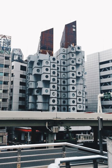 Street view at Nakagin Capsule Tower Tokyo Japan © CoupleofMen.com