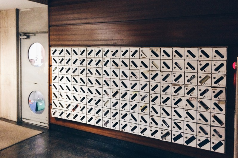 Postboxes in the Lobby of the Nakagin Capsule Tower in Tokyo © CoupleofMen.com