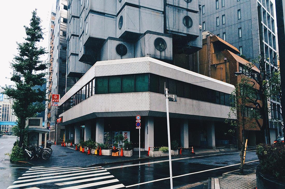 Street view at Nakagin Capsule Tower Tokyo Japan © CoupleofMen.com