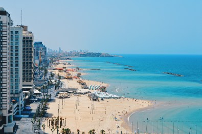 View of the long white beaches of Tel Aviv from the rooftop © CoupleofMen.com