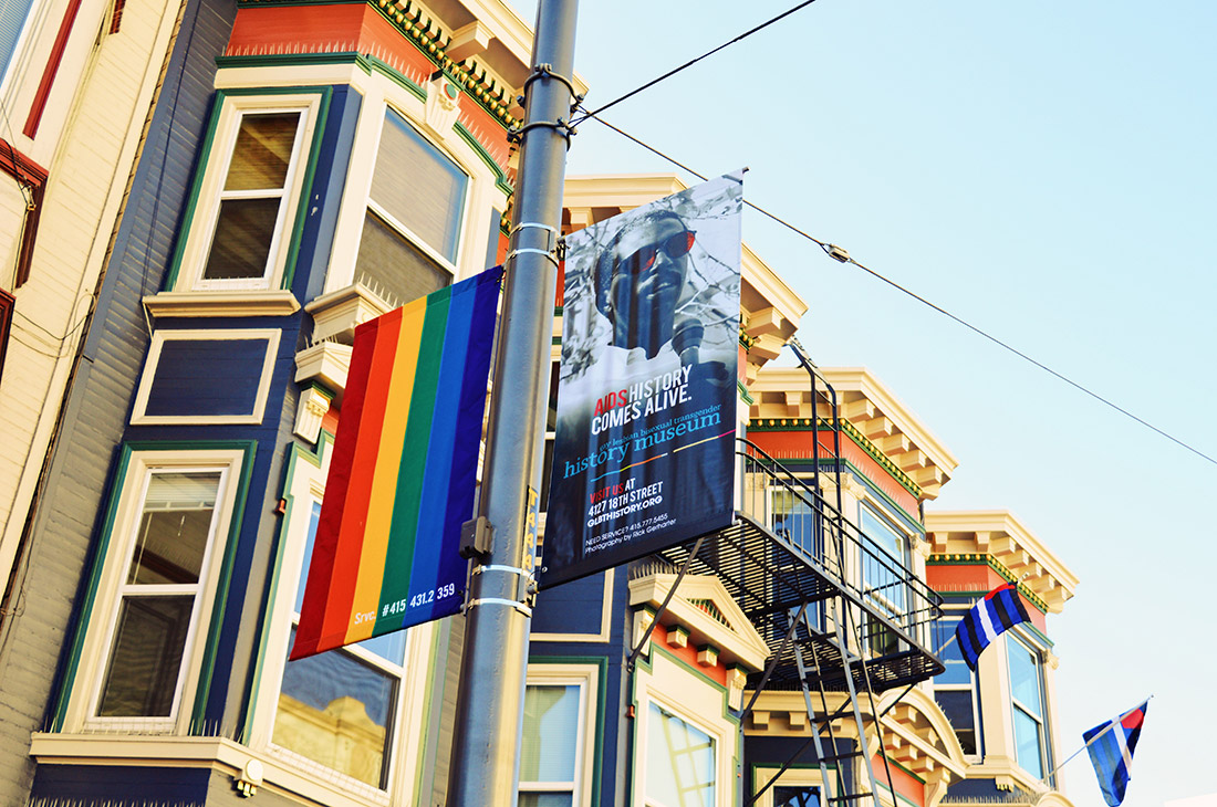 Beautiful houses of the Castro District decorated with rainbow flags © CoupleofMen.com