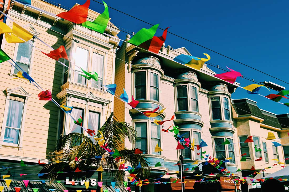 Rainbow flags all over Castro district, but not for pride © CoupleofMen.com
