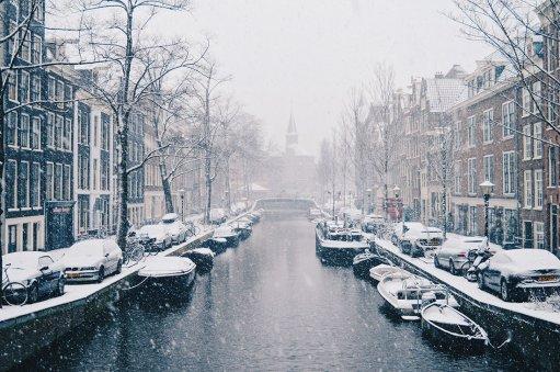 Dutch Winter Day Amsterdam Netherlands in February   © CoupleofMen.com