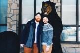 "Photo with a ""real"" Black Bear at Fairmont Jasper Lodge Alberta Canada Gay-friendly Hotel © CoupleofMen.com"
