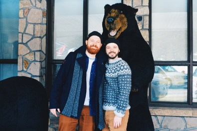 "Photo with a ""real"" Black Bear at Fairmont Jasper Lodge Alberta Canada Gay-friendly Hotel © CoupleofMen.com"