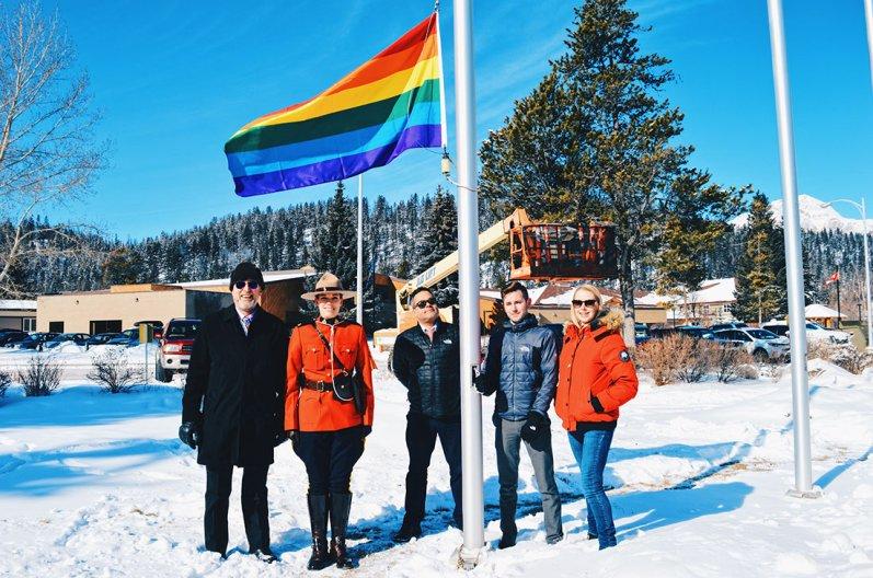 Raising the Rainbow Flag 2017   Highlights Jasper Pride Festival Rainbow Parade Marmot Basin © CoupleofMen.com