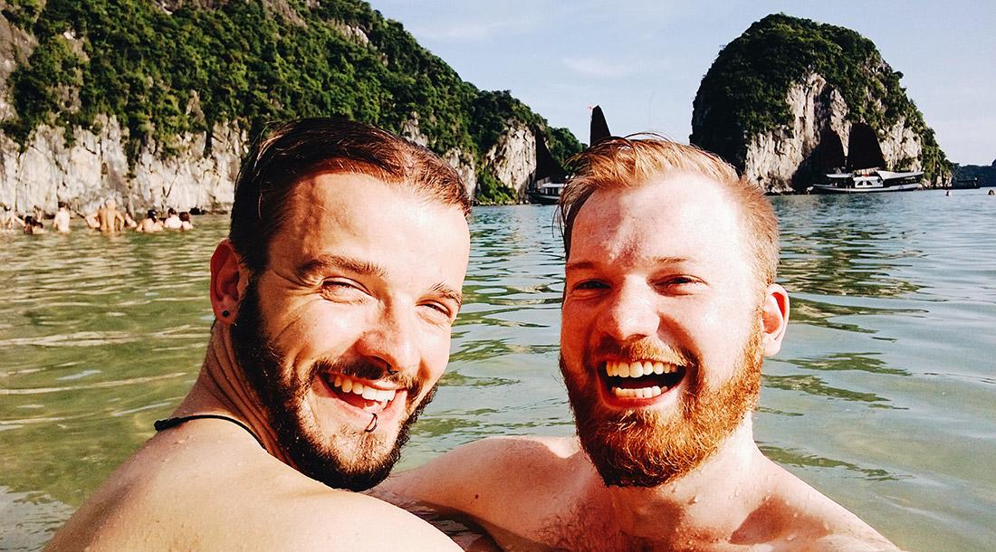 Gay Travel Adventure Vietnam Gay Travel Blogger swimming Halong Bay | Top Highlights Best Photos Gay Couple Travel Vietnam © CoupleofMen.com