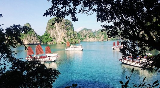 Dragon Junks Halong Bay view   Top Highlights Best Photos Gay Couple Travel Vietnam © CoupleofMen.com