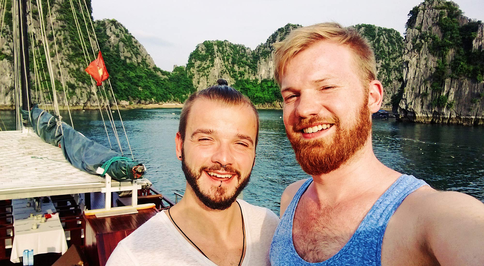 Gay Travel Blogger Karl & Daan on a Halong Bay Cruise | Top Highlights Best Photos Gay Couple Travel Vietnam © CoupleofMen.com
