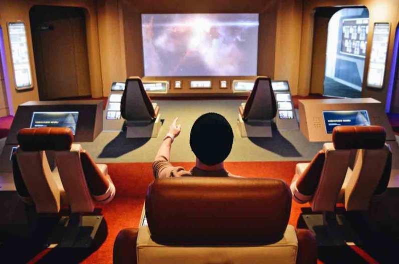 Karl as Captain on the Bridge | Telus Spark Calgary Star Trek Academy Experience © CoupleofMen.com