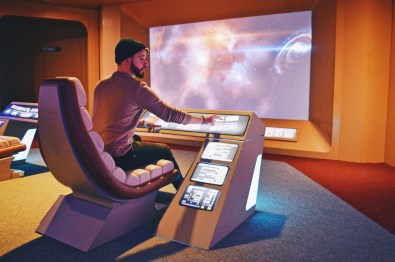 Karl as Navigation Officer on the Bridge | Telus Spark Calgary Star Trek Academy Experience © CoupleofMen.com