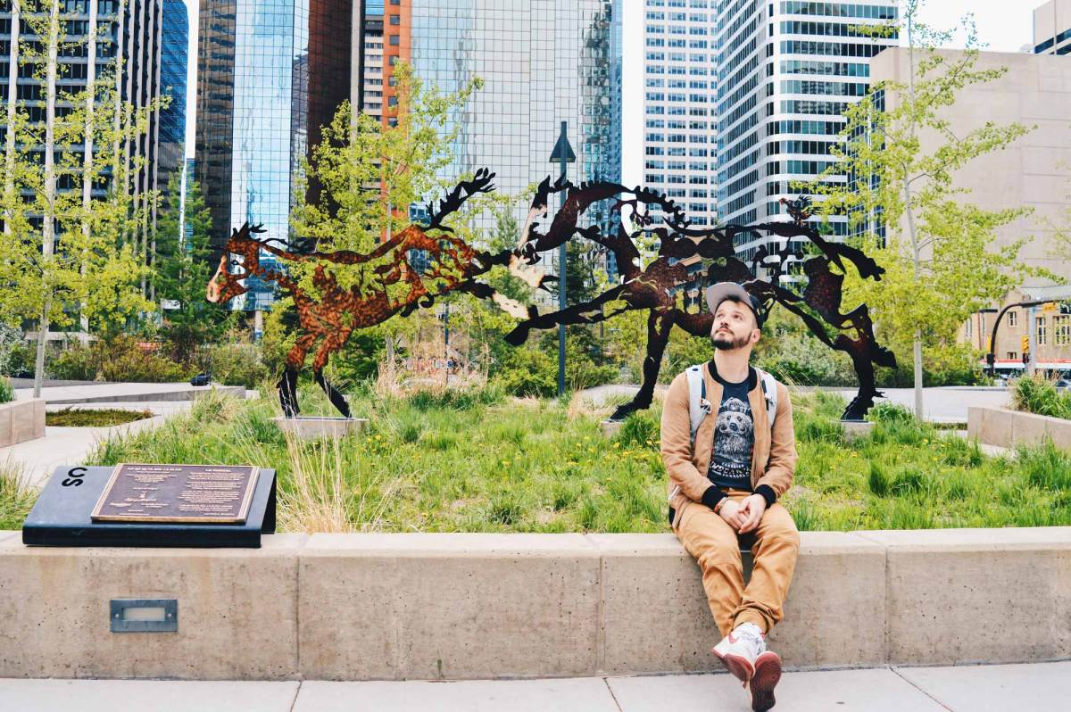 Our Gay Couple Photo Tour | Parks & Public Art Walk at Downtown Calgary
