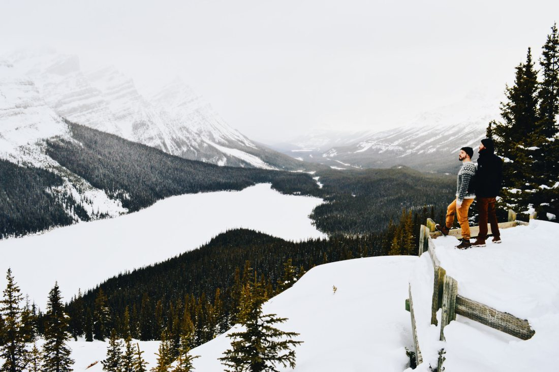 Overlooking frozen Peyto Lake on Icefields Parkway, Alberta © Coupleofmen.com