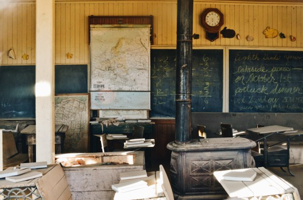 Class Room with Map of Europe and blackboard   Ghost Town Bodie State Historic Park California © CoupleofMen.com
