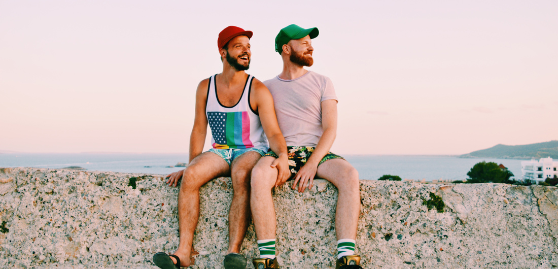 Karl & Daan enjoying the view over Ibiza Town | Gay Couple Travel on Ibiza at the Gay Beach during our The Cruise Stop Over -