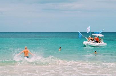 Gay Travel Ibiza Turquoise Blue Mediterranean Sea | Gay Couple Travel Gay Beach Ibiza Town Spain © CoupleofMen.com