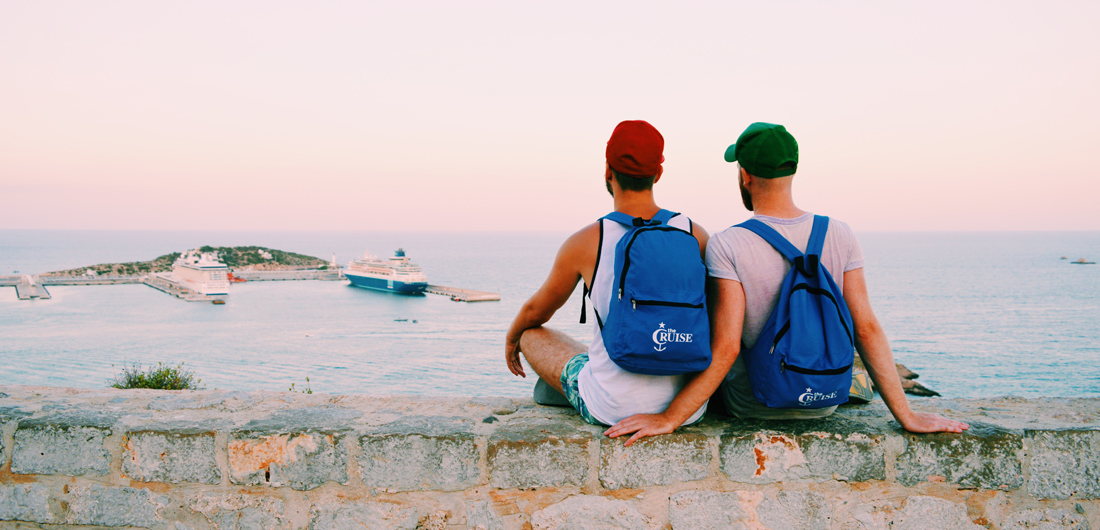 Gay Travel Ibiza: Karl & Daan enjoying the view over Ibiza Port | © Coupleofmen.com