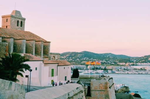 Gay Travel Ibiza Cathedral Santa María and La Marina y Sa Penya | Gay Couple Travel Gay Beach Ibiza Town Spain © CoupleofMen.com