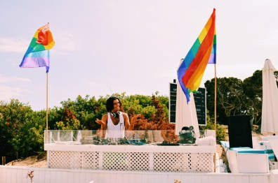 Live DJ Music at the Gay Beach | Gay Couple Travel Gay Beach Ibiza Town Spain © CoupleofMen.com