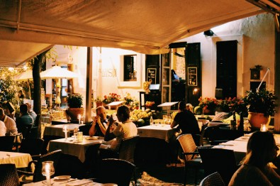 Gay Travel Ibiza Dinner after sunset at Plaça del Sol Restaurant | Gay Couple Travel Gay Beach Ibiza Town Spain © CoupleofMen.com