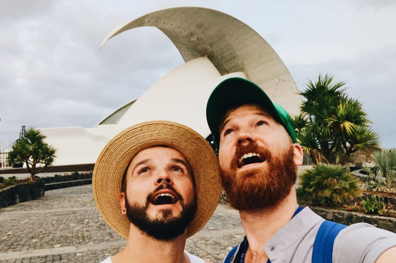 "European Gay Cruise Gay Selfie in front of the Auditorio de Tenerife ""Adán Martín"" 