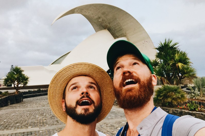 "Gay Selfie in front of the Auditorio de Tenerife ""Adán Martín"" © CoupleofMen.com"