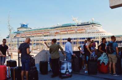 Waiting to board the Monarch | Gay Couple Travel Diary The Cruise 2017 © CoupleofMen.com