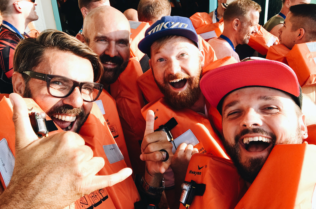 Pssst: hidden selfie during Safety Drill | Gay Couple Travel Diary The Cruise 2017 © CoupleofMen.com
