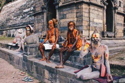 Praying Sadhus by the River Bagmati   Gay Travel Nepal Photo Story Himalayas © Coupleofmen.com