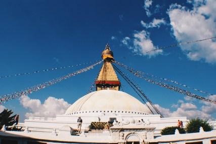 Total elevation of the white Boudhanath Stupa   Gay Travel Nepal Photo Story Himalayas © Coupleofmen.com