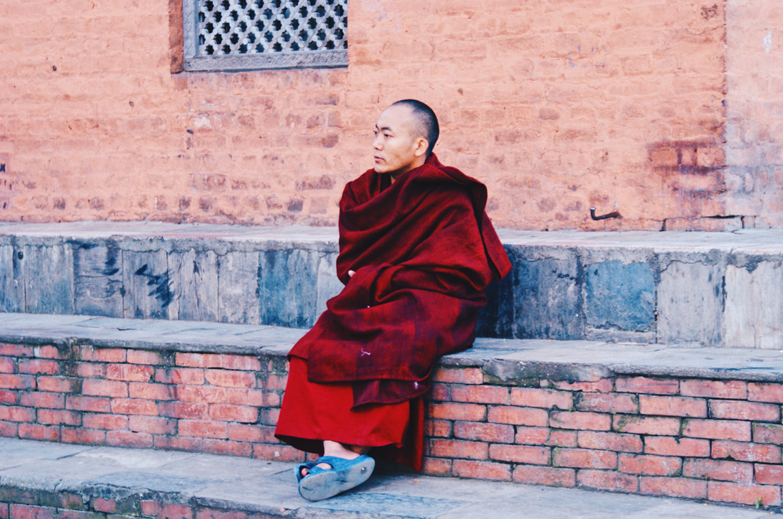 Monk at Swayambhunath - Temple | Gay Travel Nepal Photo Story Himalayas © Coupleofmen.com