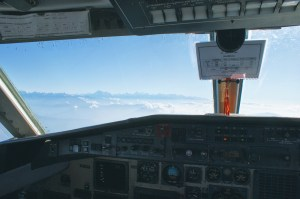 View over the Himalayas through the cockpit of Yeti Airlines Plane 1 | Gay Travel Nepal Photo Story Himalayas © Coupleofmen.com