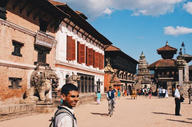 In front of the Royal Palace of Bhaktapur   Gay Travel Nepal Photo Story Himalayas © Coupleofmen.com