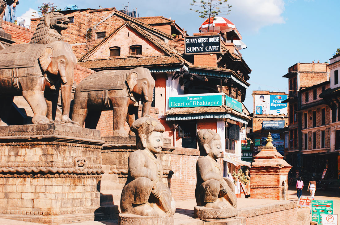 Statues at the Stairways of the Nyatapola-Temple in Bhaktapur | Gay Travel Nepal Photo Story Himalayas © Coupleofmen.com