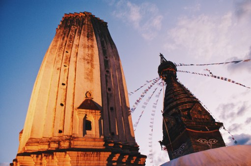Buddha Stupa and Hindu Tower | Gay Travel Nepal Photo Story Himalayas © Coupleofmen.com