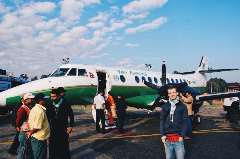 Karl in front a Handley Page H.P.137 Jetstream of Yeti Airlines | Gay Travel Nepal Photo Story Himalayas © Coupleofmen.com