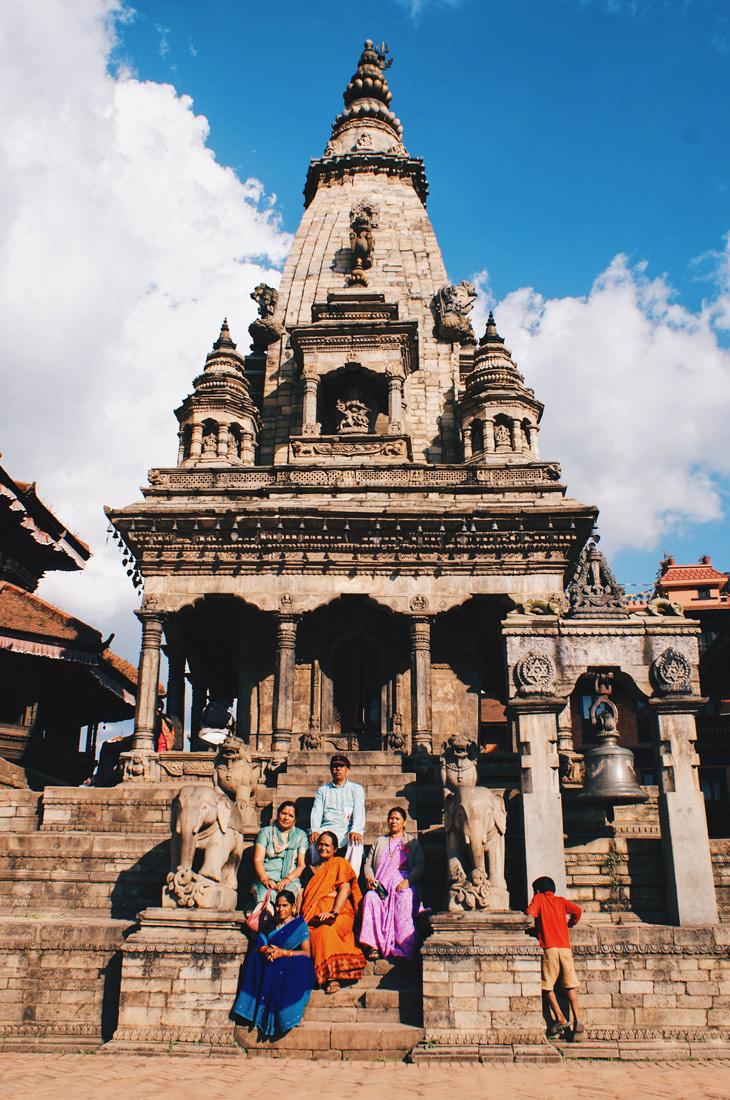 Family Photo in front of the Vatsala Durga Temple In Bhaktapur | Gay Travel Nepal Photo Story Himalayas © Coupleofmen.com