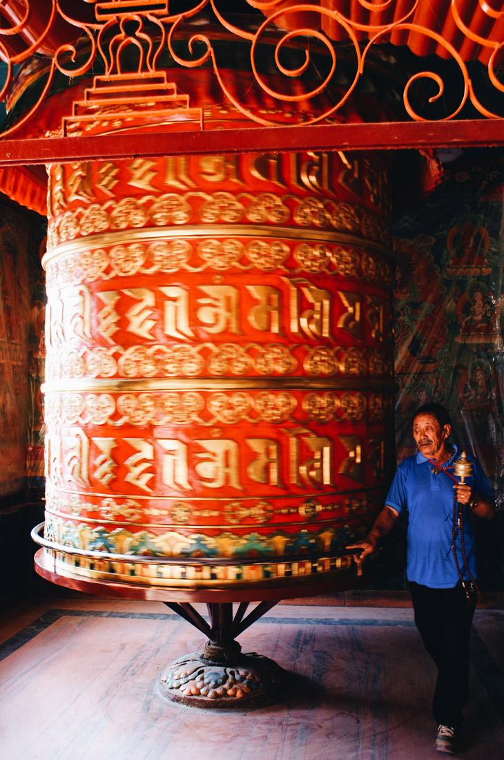 Big red Prayers Mill at Boudhanath Stupa | Gay Travel Nepal Photo Story Himalayas © Coupleofmen.com