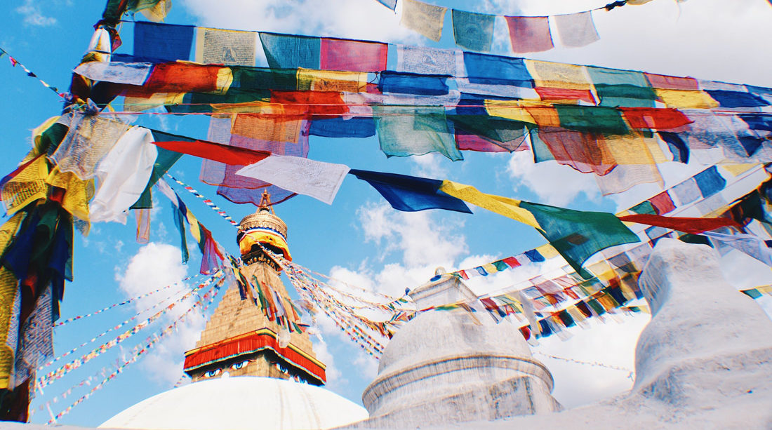 Praying flags at Boudhanath Stupa | Gay Travel Nepal Photo Story Himalayas © CoupleofMen.com