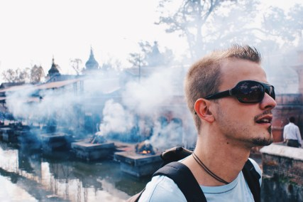 Karl overlooking the mystical environment of the cremation fires at River Bagmati   Gay Travel Nepal Photo Story Himalayas © Coupleofmen.com